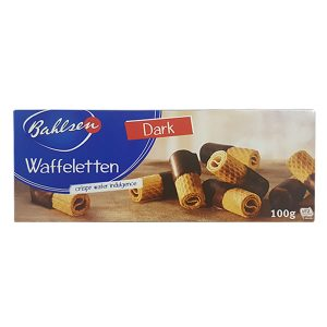 Wafer Rolls Half-Coated in Dark Chocolate