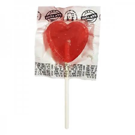 סוכריה על מקל - לב אדום 100 יחידות